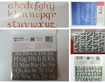 Pochoir Alphabet lettres mod au choix DIY home déco Artemio chiffre ponctuation