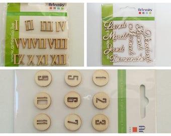 Embellissements bois Scrapbooking Artemio Chiffres normaux ou Romains 1 à 12  1 à 24 ou texte jour semaine en planche Rangement