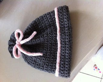 wool, pink and gray baby Hat