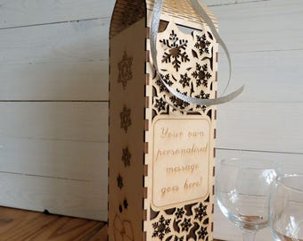 Personalised Wine Bottle Gift Box And Cork Collector, Snow Flakes, Laser Cut Ply Wood, Live Hinge Access, Christmas Bottle Holder Snowflakes