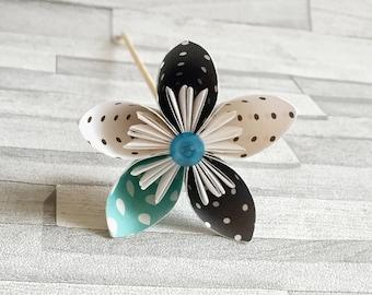 Black, white and blue polka dot paper flowers, bouquet, floral arrangement, colourful, wedding center piece