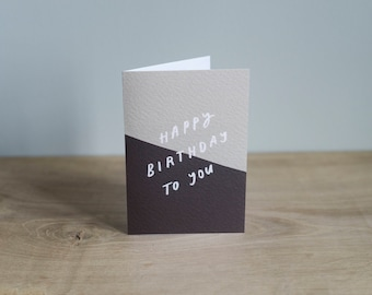 Illustrated 'Happy Birthday To You', typographic card