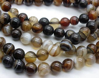 47 natural agate 8 mm brown beige