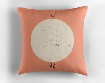 LEO Astrological Constellation Throw Pillow, Minimalist Zodiac Art, Home Decor
