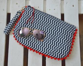 Cluchtbag handmade handbag with white and blue zig zag stripe