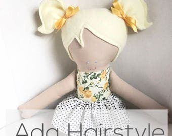 Ada Hairstyle - custom doll - handmade dolls - plush doll - fabric doll - heirloom doll - handmade doll - personalized doll - dolls