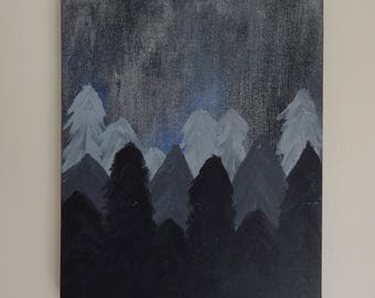 """Night Forrest """"Not All Who Wander Are Lost"""" Painting"""