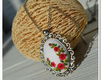 Red roses necklace floral pendant roses pendant gift jewelry feminine necklace mother gift for her birthday gift applique necklace filigree