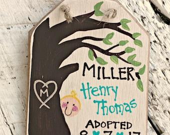 Family Tree Adoption Ornament, Adoption Gift Tag, Personalized Adoption Christmas Ornament, Adoption Party Gift, Wood Hang Tag