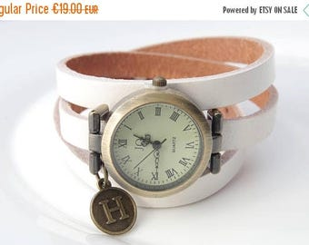 Sale White leather watch Personalized watches Monogrammed watch  Women wrist watch Italian Charm Watch Personalised Anniversary Gift for her