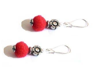 Summer red tassel earrings