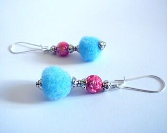 Summer earrings, tassels blue pink beads
