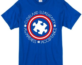 CLEVELAND ELEMENTARY | Captain America Themed Autism Shirts | Youth & Adults