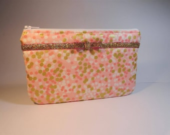 pouch flat fabric pink white pink polka dot and Ribbon edged gold glitter