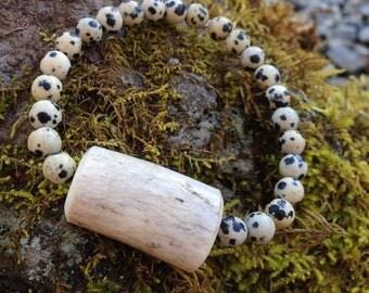 Antler Bead Bracelet with Dalmatian Jasper- Stretch Bracelet