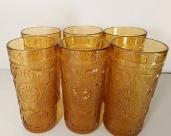 Set of 6 Anchor Hocking Sandwich Amber Glasses