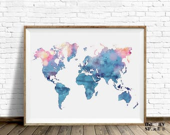 Watercolor world map etsy world map poster blue watercolor world map art push pin map of the world travel map gumiabroncs Images
