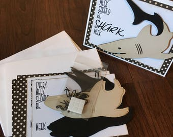 DIY Card Kit, Shark, 4Pk, Blank Inside, Card Making, Greeting Card Kit, Premade Card