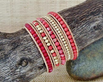 Red Coral Leather Wrap Bracelet/5 Wrap Bracelet/Beaded Leather Wrap/Coral & Gold Bracelet/Boho Wrap Bracelet/3rd Anniversary Gift for Her