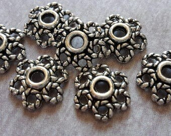 20 pcs, cups flowers, bead caps, brass, ethnic bead caps, end caps, beads, brass, silver Metal caps, 10 x 3 mm