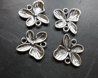 5 connectors x large flower spacer charms silver metal - 20 x 19 mm flower