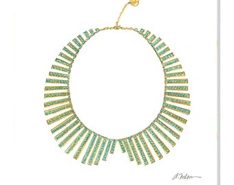 Watercolor Necklace Rendering in Yellow Gold with Turquoise printed on Canvas
