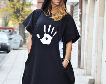 Black Extravagant Maxi Hooded Cotton Top, Sweatshirt With Hand Print, New 2016 Aw Sport Hooded by SSDfashion