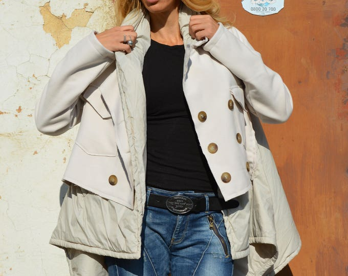 Women's Ivory Winter Coat, Extra Warm Asymmetrical Coat, Extravagant Cashmere Wool Coat With Pockets by SSDfashion
