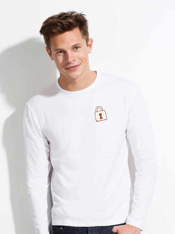 Round neck men long sleeve t-shirt KEY-PADLOCK