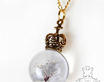 Cherry Blossom necklace with gold Crown