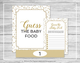 White and Gold Baby Shower Guess The Baby Food Game - Printable Baby Shower Guess The Baby Food Game - Gold Confetti Baby Shower - SP149