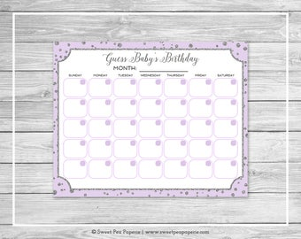 Purple and Silver Baby Shower Guess Baby's Birthday - Printable Baby Shower Guess Baby's Birthday Game - Purple Silver Baby Shower - SP153