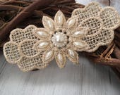 Champagne hair pin clip comb bride bridal wedding flower girl accessory pearl pearls lace