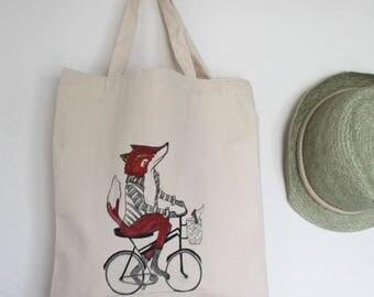 fox tote bag, fox bag, fox lover gift, fox on bike tote bag