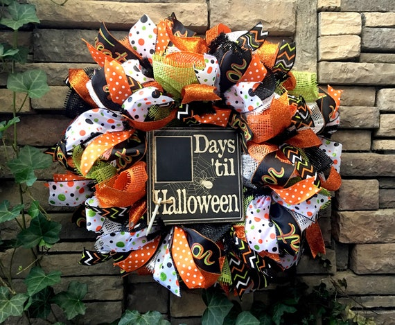 Halloween Wreath, Trick or Treat Wreath, Fall Wreath, Autumn Wreath, Paper Mesh Wreath, Deco Mesh Wreath, Halloween Decoration, Halloween