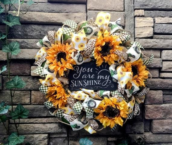 Farmhouse Wreaths, Burlap Wreath, Sunflower Wreath, Primitive Wreath, Autumn Wreath, Country Wreath, Farmhouse Decor, Autumn Decor, Wreaths