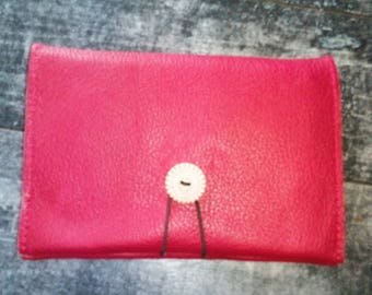 Pouch passport, tobacco pouch, insurance, credit card, where tobacco red leather, women