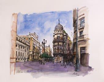 Watercolor and ink original, drawing and painting. Avenida de la Constitución, Seville