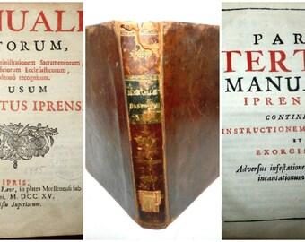 1715 Catholic Manual Exorcism Prayers Hymns Demonic Possession Occult Rite of Blessing Water Psalms Baptism Oath  Latin Language Music Sheet