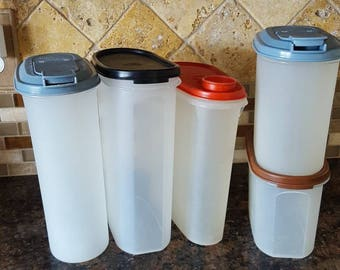 VINTAGE Tupperware Containers / Modular Mates / Slimline / 5 Tupperware Containers
