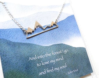 Sterling Silver Mountain Necklace, Inspirational Jewelry, Inspirational Gift