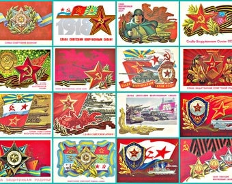 GLORY to RED ARMY! Holiday Military,  Vintage  Soviet  Communism Propaganda, Flag , Red Star , Hammer and Sickle.