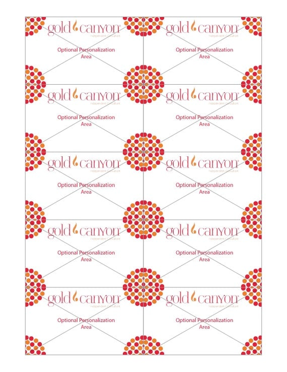gold canyon business cards full sheet