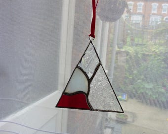 Stained glass  Triangle ornament.