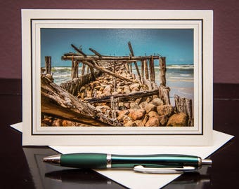 Sventoji Old Bridge GC--Greeting Card-Note Card-Travel-Home Office Decor-Matted Art Print-Gift-Photo-Art-Lithuania-Baltic Sea-Europe-Rocks