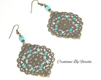 Blue earrings with a stamp and rhinestone earrings