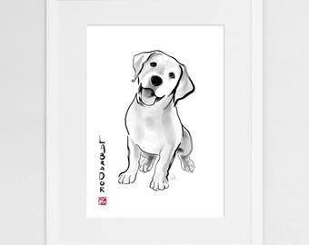 Labrador Retriever Art Print,International Dog Sumi-e Painting Illustration Asia Canada Pet Zen Art Cute Ink Drawing Puppy Lover