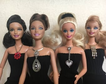 Barbie Doll Necklace, Barbie Doll Clothes, Barbie Jewelry, Fashion Doll Jewelry, Doll Jewelry, Doll Necklace, OOAK Jewelry, Doll Accessories