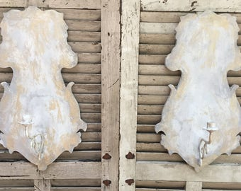 Pair of Hand Painted Candle Wall Sconces