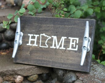 Minnesota Home SIgn, Rustic Cabin Decor, Custom State Home Decor, Rustic Serving Tray, Rustic Towel Hanger, Birthday Gift for Mom, For Her